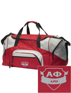 Alpha Phi Embroidered Colorblock Duffel Bag