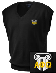 Alpha Phi Omega Embroidered Men's Fine-Gauge V-Neck Sweater Vest