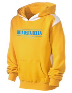 Delta Delta Delta Kid's Pullover Hooded Sweatshirt with Contrast Color