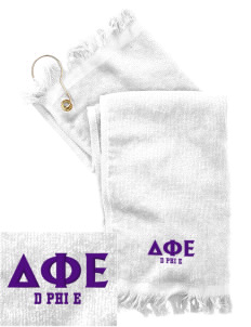 Delta Phi Epsilon  Embroidered Grommeted Finger Tip Towel
