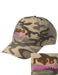 Gamma Phi Beta Embroidered Camouflage Cotton Cap