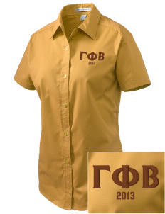 Gamma Phi Beta Embroidered Women's Easy Care Short Sleeve Shirt