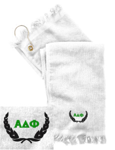 Alpha Delta Phi  Embroidered Grommeted Finger Tip Towel