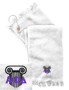 Alpha Phi Delta  Embroidered Grommeted Finger Tip Towel