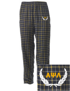 Alpha Psi Lambda Embroidered Men's Button-Fly Collegiate Flannel Pant