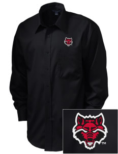 Arkansas State University Red Wolves  Embroidered Men's Long Sleeve Non-Iron Twill Shirt