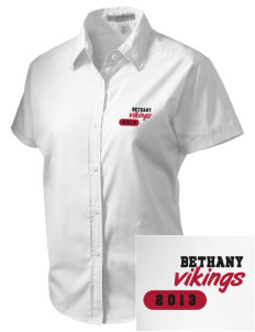 Bethany Lutheran College Vikings Embroidered Women's Short Sleeve Easy Care, Soil Resistant Shirt