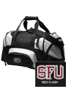 Saint Francis University Red Flash Embroidered Small Colorblock Duffel