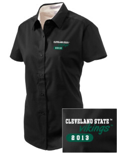 Cleveland State University Vikings Embroidered Women's Easy Care Short Sleeve Shirt