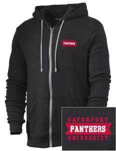 Davenport University Panthers Embroidered Alternative Men's Rocky Zip Hooded Sweatshirt