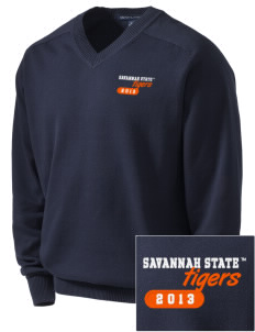 Savannah State University Tigers Embroidered Men's V-Neck Sweater