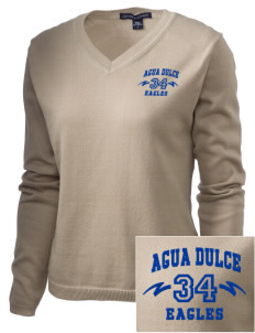 Agua Dulce Elementary School Eagles Embroidered Women's V-Neck Sweater