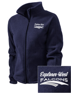 Explorer West Middle School Falcons Embroidered Women's Fleece Full-Zip Jacket