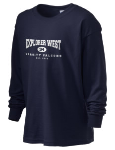 Explorer West Middle School Falcons Kid's 6.1 oz Long Sleeve Ultra Cotton T-Shirt