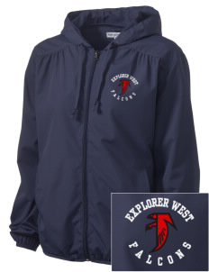Explorer West Middle School Falcons Embroidered Women's Hooded Essential Jacket