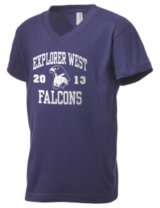 Explorer West Middle School Falcons Kid's V-Neck Jersey T-Shirt