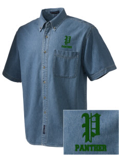 Mesa Verde Elementary School Panther  Embroidered Men's Denim Short Sleeve