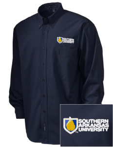 Southern Arkansas University Muleriders  Embroidered Men's Easy Care, Soil Resistant Shirt