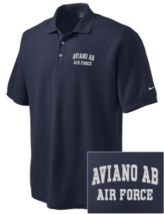 Aviano Air Base Embroidered Nike Men's Pique Knit Golf Polo