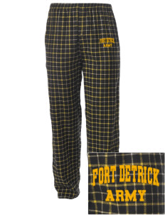 Fort Detrick Embroidered Men's Button-Fly Collegiate Flannel Pant