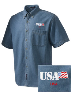 Fort Myer  Embroidered Men's Denim Short Sleeve