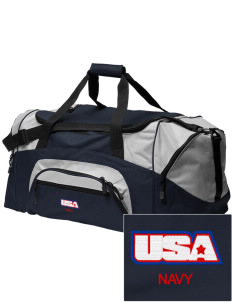 Diego Garcia Atoll Navy Support Facility Embroidered Colorblock Duffel Bag