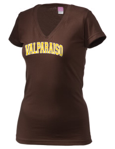 Valparaiso University Crusaders Juniors' Fine Jersey V-Neck Longer Length T-shirt