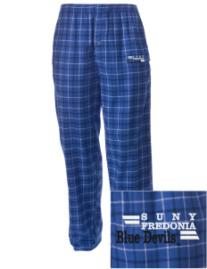 SUNY Fredonia Blue Devils Embroidered Men's Button-Fly Collegiate Flannel Pant