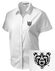 Mercer University Bears Embroidered Women's Short Sleeve Easy Care, Soil Resistant Shirt