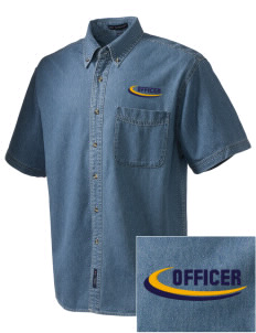 Hillcrest Police Department  Embroidered Men's Denim Short Sleeve