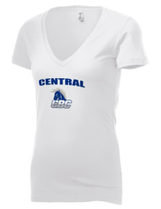 Central Baptist College Mustangs Women's 4.2 oz Jersey Deep V-Neck T-Shirt