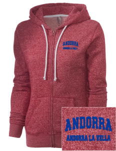 Andorra Embroidered Women's Marled Full-Zip Hooded Sweatshirt