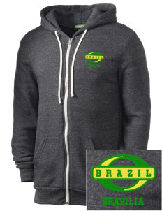 Brazil Embroidered Alternative Men's Rocky Zip Hooded Sweatshirt