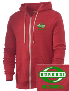 Burundi Embroidered Alternative Men's Rocky Zip Hooded Sweatshirt