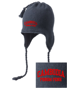 Cambodia Embroidered Knit Hat with Earflaps