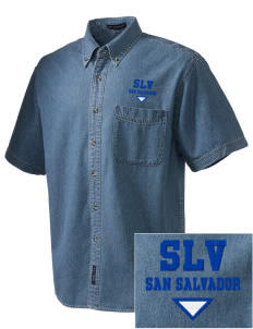 El Salvador  Embroidered Men's Denim Short Sleeve