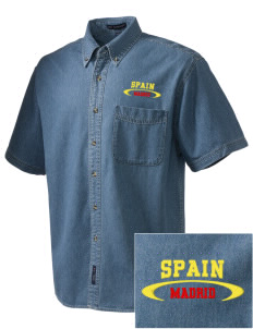 Spain  Embroidered Men's Denim Short Sleeve