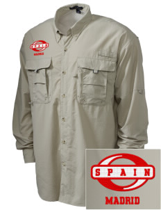 Spain Embroidered Men's Explorer Shirt with Pockets