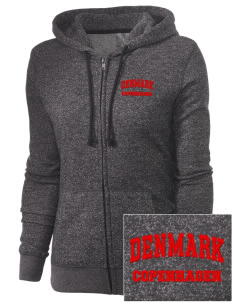 Denmark Embroidered Women's Marled Full-Zip Hooded Sweatshirt