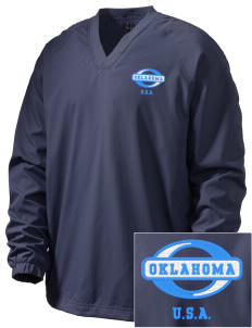 Oklahoma Embroidered Men's V-Neck Raglan Wind Shirt