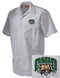 Ohio University Bobcats  Embroidered Mens' Industrial Short Sleeve Work Shirt w/Melamine Button