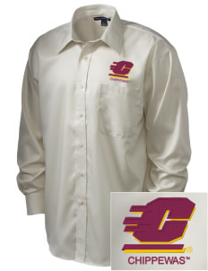 Central Michigan University Chippewas  Embroidered Men's Long Sleeve Non-Iron Twill Shirt