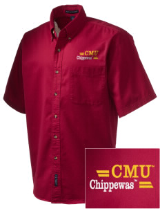 Central Michigan University Chippewas Embroidered Men's Short Sleeve Twill Shirt