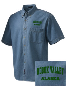 Kobuk Valley National Park  Embroidered Men's Denim Short Sleeve