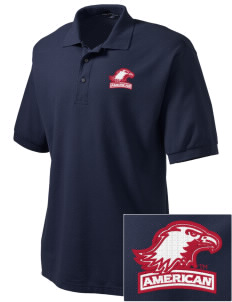 American University Eagles Embroidered Men's Silk Touch Polo