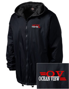 Ocean View Embroidered Dickies Men's Fleece-Lined Hooded Jacket