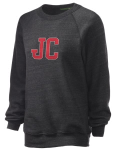 Junction City Unisex Alternative Eco-Fleece Raglan Sweatshirt with Distressed Applique