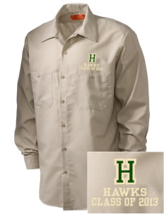 Hamilton Elementary School Hawks Embroidered Men's Industrial Work Shirt - Regular