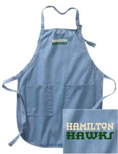 Hamilton Elementary School Hawks Embroidered Full-Length Apron with Pockets