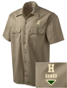 Hamilton Elementary School Hawks Embroidered Dickies Men's Short-Sleeve Workshirt